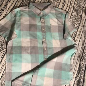Plaid Button up short leave top